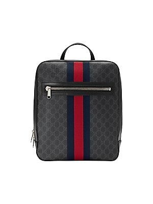 5c42c268001e $1690 Gucci Men's GG Supreme Web Backpack - Black Grey Blue Red