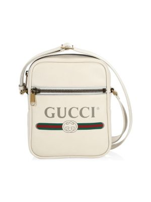 Logo Print Leather Shoulder Bag by Gucci