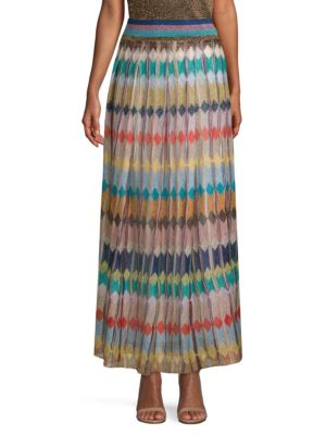 Striped Metallic Crochet-Knit Maxi Skirt, Multicolor