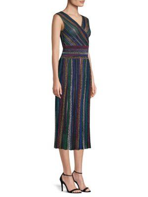 Striped Faux Wrap Midi Dress by Missoni