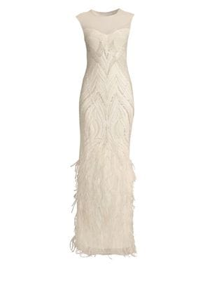 Allie Beaded Feather Gown by Parker Black
