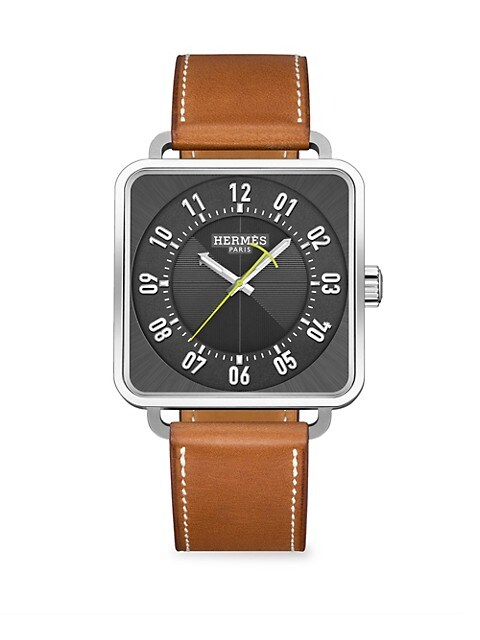 Carre H 38MM Square Stainless Steel & Leather Strap Watch