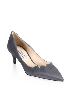 Point Toe Suede Pumps by Prada