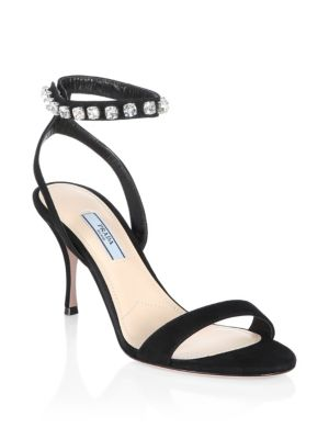 Crystal Ankle Strap Sandals by Prada