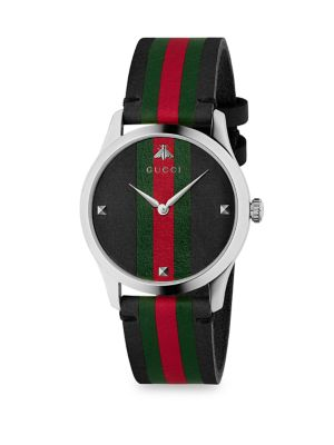 G-Timeless 38Mm Stainless Steel And Striped Leather Watch, Black/ Green/ Silver