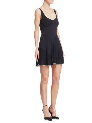 Ribbed Fit-And-Flare Cami Dress in Black