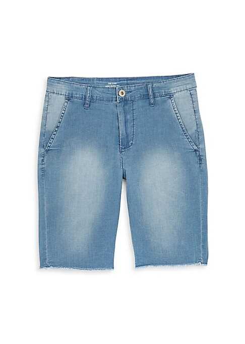 Image of Casual chambray chino shorts finished with washed design. Belt loops. Zip fly with button closure. Front slip pockets. Back welt pockets. Cotton/spandex. Machine wash. Imported.
