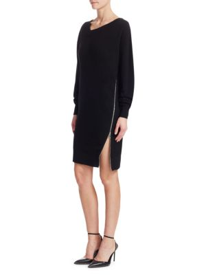Size Zip Oversized Sweatshirt Dress in Black