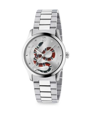 G-Timeless Snake-Dial 38Mm Stainless Steel Watch - Silver - One Siz