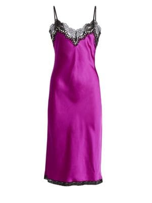 Embellished Lace-Trimmed Satin Midi Dress, Fuchsia