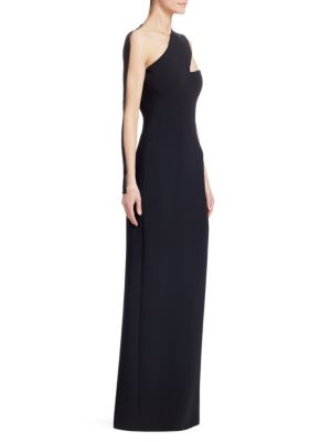 Sheer Inset One Shoulder Crepe Gown, Black