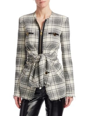 Deconstructed Tie-Front Jacket, Black And White