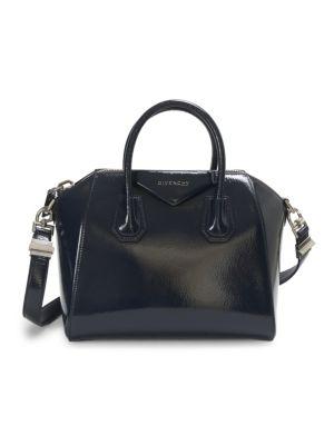 Small Antigona Creased Patent Leather Satchel - Blue, Deep Blue
