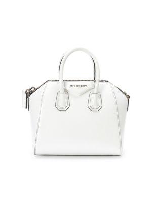 Mini Antigona Patent Leather Satchel - Burgundy, White
