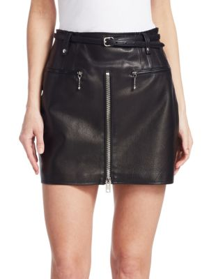 Moto Leather Mini Skirt, Black