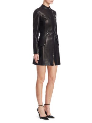 Military Moto Leather Trench Coat, Black