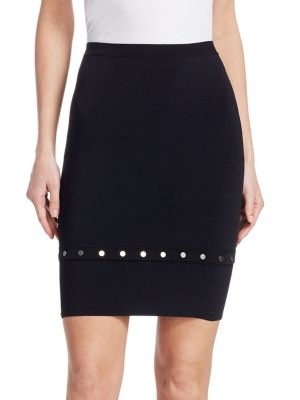 Knee-Length Snap-Hem Skirt, Black