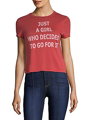 """Image of Classic graphic tee updated with a quirky motto Crewneck Short sleeves Pullover style About 23"""" from shoulder to hem Cotton Machine wash Imported Model shown is 5'10"""" (177cm) wearing US size Small. Contemporary Sp - Denim And Bottoms. Alice + Olivia Jeans"""