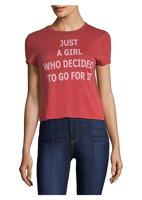 """Image of Classic graphic tee updated with quirky motto. Crewneck. Short sleeves. Pullover style. About 23"""" from shoulder to hem. Cotton. Machine wash. Imported. Model shown is 5'10"""" (177cm) wearing US size Small."""