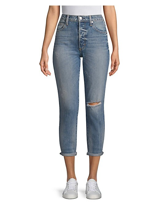 """Image of High-rise ankle jeans in distressed finish. Belt loops. .Front zip-fly with button closure. Five-pocket style. Rise, about 12"""".Inseam, about 27"""".Cotton/elastane. Machine wash. Made in USA. Model shown is 5'10"""" (177cm) wearing US size 4. ."""