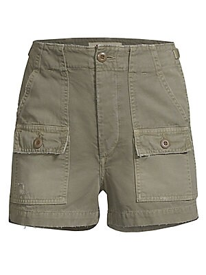 "Image of Cotton military shorts in multi-pocket design with button fly. Button fly with button closure Front slash pockets Front and back button-flap patch pockets Cotton/elastane Machine wash Made in USA SIZE & FIT Rise, about 12"" Inseam, about 2"" Model shown is"