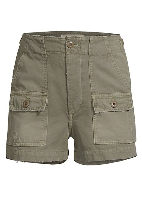 """Image of Cotton military shorts in multi-pocket design with button fly. Button fly with button closure. Front slash pockets. Front and back button-flap patch pockets. Cotton/elastane. Machine wash. Made in USA. SIZE & FIT. Rise, about 12"""".Inseam, about 2"""".Model sh"""