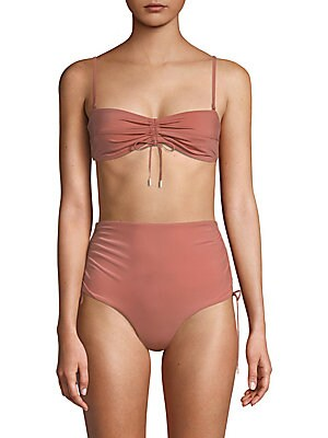 Image of Adjustable drawstring shapes sleek bikini top Removable, adjustable spaghetti straps Back hook Center drawstring Nylon/spandex Hand wash Made in USA Please note: Bikini bottoms sold separately. Outerwear And S - Contemporary Swim. 6 Shore Road by Pooja. C