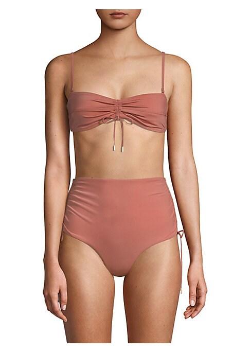 Image of Adjustable drawstring shapes sleek bikini top. Removable, adjustable spaghetti straps. Back hook. Center drawstring. Nylon/spandex. Hand wash. Made in USA. Please note: Bikini bottoms sold separately.