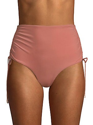 Image of Drawstring sides shape flattering high rise bottoms Hits above waist Adjustable drawstring sides Cheeky bottom Nylon/spandex Hand wash Made in USA Please note: Bikini top sold separately. Outerwear And S - Contemporary Swim. 6 Shore Road by Pooja. Color: