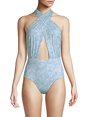 """Image of Printed cross front swimsuit finished with a front cut-out Halter neck Self tie closure at back neck Open back About 27"""" from shoulder to hem Nylon/spandex Hand wash Made in USA. Outerwear And S - Contemporary Swim. 6 Shore Road by Pooja. Color: Serenity"""