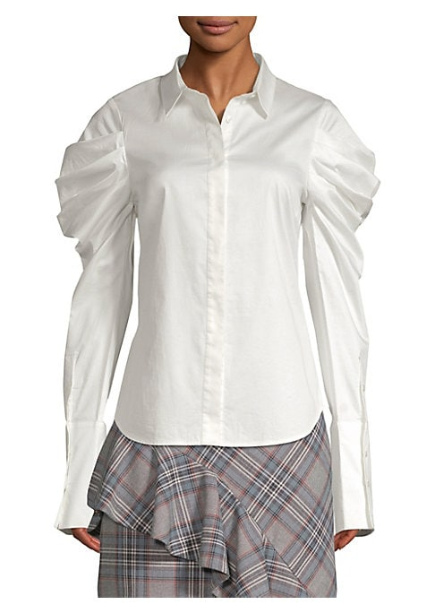 """Image of Dramatic puff sleeves add ruched structures to crisp blouse. Spread collar. Long puff sleeves. Buttoned cuffs. Concealed button-front. Shirttail hem. About 26"""" from shoulder to hem. Organic cotton/spandex. Dry clean. Imported. Model shown is 5'10"""" (177cm)"""
