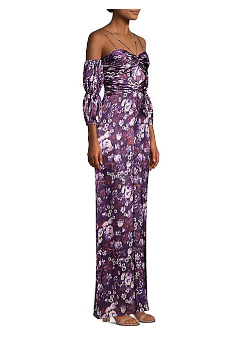 """Image of Abstract daisy print and ruched details elevate jumpsuit. Sweetheart. Double spaghetti straps. Elbow-length cold-shoulder lantern sleeves. Concealed back zip. Cupro lining. Inseam, about 30"""".About 64"""" from shoulder to hem. Silk. Dry clean. Imported. Model"""