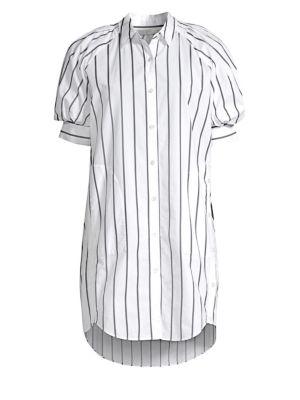 Sephira Puff-Sleeve High-Low Shirtdress, Porcelain