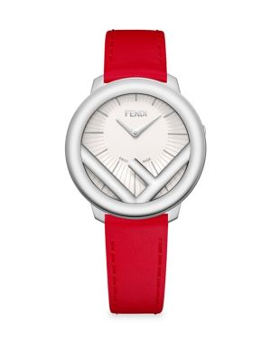 Run Away Stainless Steel Leather Watch in Red