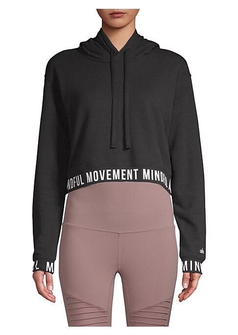 "Image of Cropped athletic hoodie with a graphic lettering trim. Attached drawstring hood. Long sleeves. Rib-knit cuffs and hem. Pullover style. About 23"" from shoulder to hem. French terry/modal cotton. Machine wash. Imported. Model shown is 5'10"" (177cm) wearing"