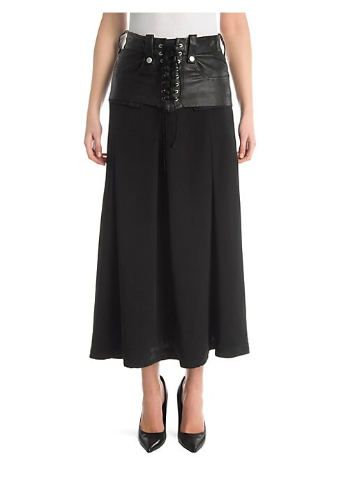 Image of A lace-up waistband transposed from leather pants injects this midi skirt with plenty of underground edge. Pin-tucks add volume to the silhouette. Belt loops. Back zip closure. Side slip pockets. Back patch pockets. Leather/viscose/silk. Dry clean. Made i