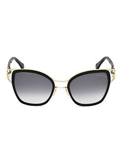 7fb65f4fbad Roberto Cavalli. 54MM Black Double Bridge Cat Eye Sunglasses