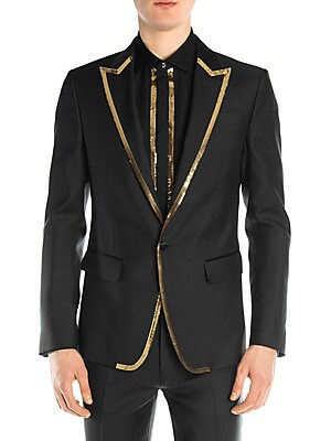 """Image of From the Saks IT LIST THE JACKET The wear everywhere layer that instantly dresses you up. Sequin trimmed jacket in luxe wool and silk Notch lapel Long sleeves Front flap pockets Button-front About 28"""" from shoulder to hem Virgin wool/silk Dry clean Made i"""