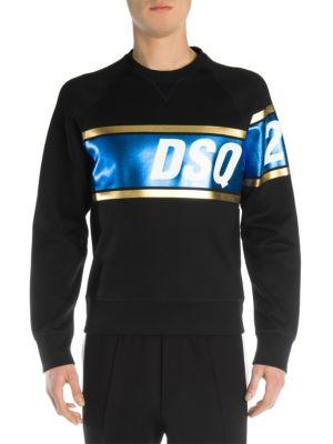DSQUARED2 Black Dsq2 Striped Cotton Sweatshirt, Black Blue