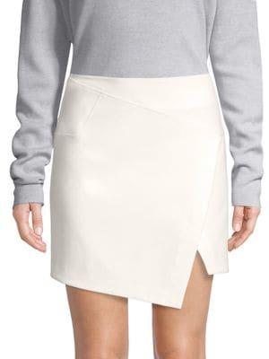 Flap Front Stretch Miniskirt, Ivory