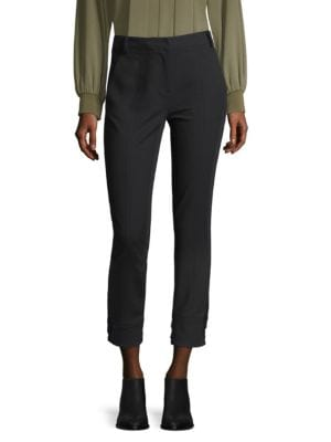 Anson Stretch Skinny Pants With Buckles, Black
