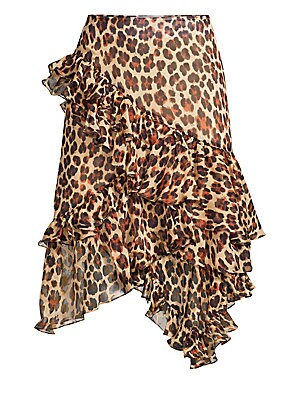"""Image of Bold leopard print accentuates textural ruffles on this chiffon skirt. Banded waist Concealed side zip Handkerchief hem Tiered asymmetric ruffles Silk Dry clean Made in USA of Italian fabric SIZE & FIT A-line silhouette About 28"""" long Model shown is 5'10"""""""