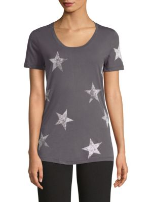 MONROW Star-Print Scoop-Neck Short-Sleeve Relaxed Shirt in Vintage Black