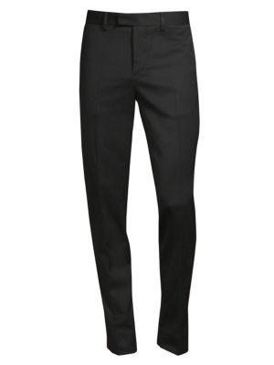 J. LINDEBERG Vernon Stripe Wool Trousers in Black