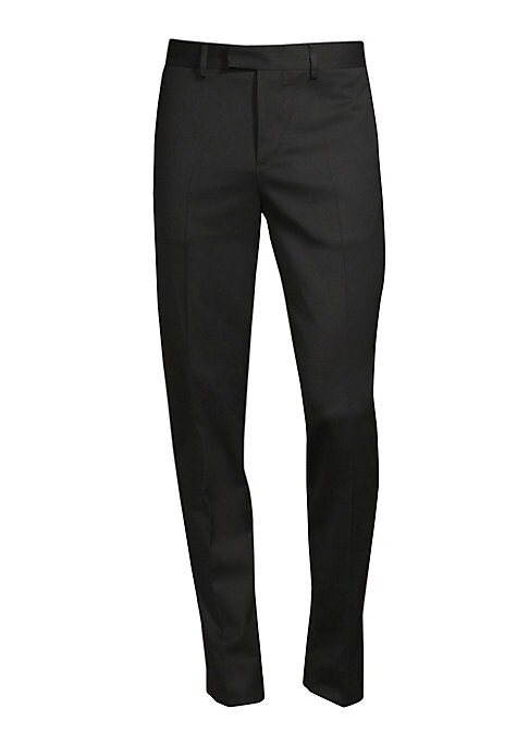 """Image of Contrast stripe elongates essential twill trousers. Belt loops. Zip fly with concealed hook-and-bar closure. On-seam pockets. Back welt pockets. Slim fit. Rise, about 10"""".Inseam, about 34"""".Polyester/wool/elastane. Dry clean. Imported."""