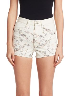Ellie Floral-Print High-Rise Twill Shorts W/ Western Back Yoke, Micro Floral