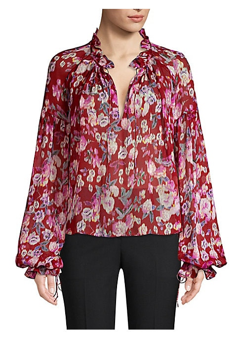 """Image of Airy top with balloon sleeves and ruffled deep v-neck. Split v-neck. Ruffled collar with drawstring. Long balloon sleeves. Drawstring cuffs.A-line silhouette. Pull-on style. About 23.5"""" from shoulder to hem. Silk. Dry clean. Imported. Model shown is 5'10"""""""