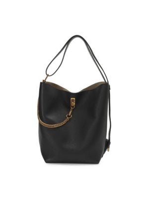 Medium Gv Goatskin Bucket Bag - Black