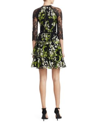 MARCHESA NOTTE Mini dresses Embroidered Lace Tulle Dress