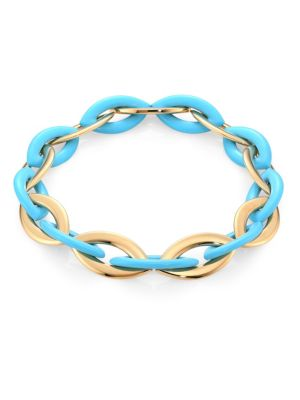 VHERNIER Doppio Senso 18K Rose Gold & Turquoise Chain Link Necklace in Blue
